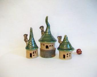 Garden Fairy Houses  -  Set of 3 - Handmade, Wheel Thrown - Ready to Ship - Photo shows Actual Set you would receive