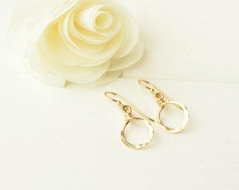 Gold Hammered Mini Hoop Earrings