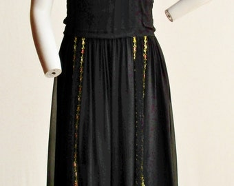 1915 Black Silk Dress with Lace and Floral Trim Size S