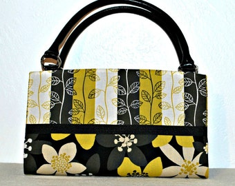 Two Tone Yellow, Gray, Black, White Floral, Stripe Magnetic Bag Shell Cover