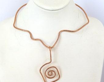 Copper Tribal Choker, Free Form Copper Pendant Slide, Gift for Her