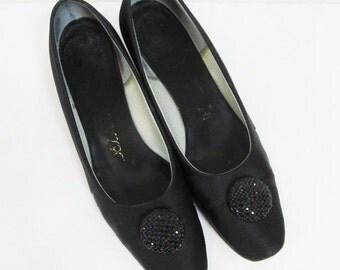 Vintage 1950's Formal Black Satin Pumps / Shoes Size 7 1/2 DELMAN Ladies Heels