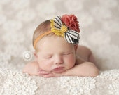 Welcome Back, Fall ~ mustard pumpkin grey polka dot and striped headband bow