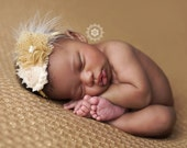 Little Goldfrapp- ivory and gold headband now with metallic  glitter tulle chiffon flower bloom
