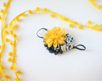Canary Islands - yellow white and navy nautical stripe rosette and chiffon headband bow