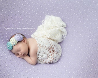 Sleeping Willow - green, aqua and lavender triple rosette headband