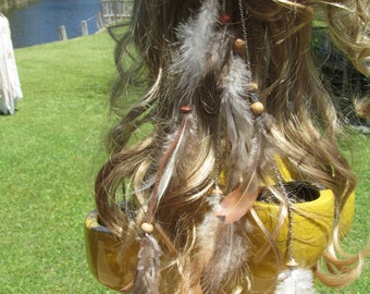 Boho Feather Hair Clip, Feather Hair Extensions, Handmade Hippy Feather Hair Accessories, Beach Wedding, Free Shipping to USA