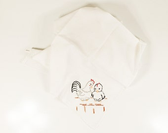 Vintage Chicken And Baby Chick Towel Embroidered  - Floursack Kitchen - Spring Hen and Baby - Unused