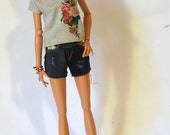 Mix and match - vintage flowers print t-shirt for FR16 Tonner Minifee MSD BJD 1/4 scale