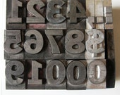 Vintage Metal Letterpress Type Large 17 Pieces Numbers Symbols Complete