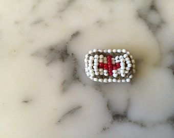 White Red Cross Beaded Pin . Folk Art