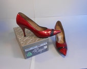 Roxie Foxey Heights - Vintage 1950s Red & Black Patent Leather Stiletto High Heels  - 9