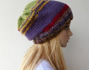 Purple Slouchy Beanie Knit Hat Multi Colour Slouch Beanie Hat
