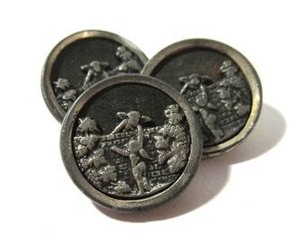 Victorian Buttons Angels Climbing Over Wall Brass ANTIQUE Buttons Three (3) Mirror Rim Victorian Jewelry Costume Sewing Supplies (G148)