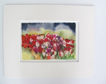Tulips Small Print , Giclee , Matted Fits in a 8x 10 Inch Frame Opening