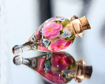 Lampwork Vessel/ Lampwork bottle / Glass vessel / Lampwork Flower / SRA