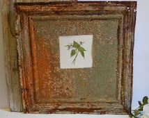 Antique Ceiling tin Mat Frame Re-purposed 24 inch Salvage Chippy Sage Green Rust Shabby French Country Magnet Memo Message Photo Art
