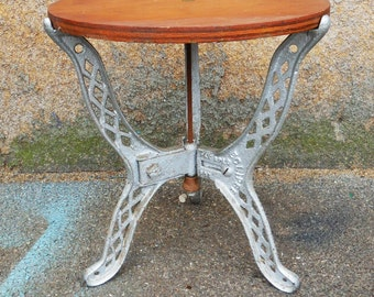 Antique Eclipse cast iron stool 3 legged steam boiler stand Industrial salvage Wood top milking stool table