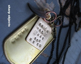 Take Only What You Need - stamped brass dogtag, antique metalwork, coyote claw charm & sealed link chain necklace