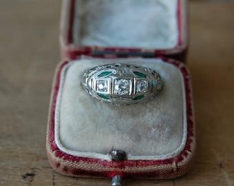 Antique Art Deco 18K European Cut diamond emerald filigree ring