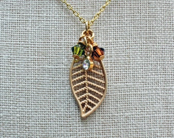 Gold Leaf Necklace - Leaf Necklace - Fall Necklace - Autumn Necklace - Gold Necklace - Rustic Necklace - Woodland Necklace