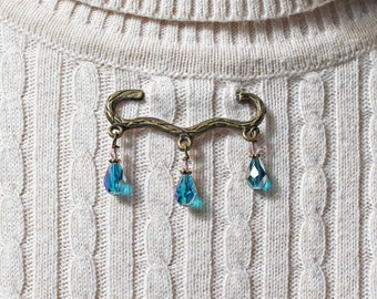 Crystal Sweater Pin - Crystal Sweater Clasp - Crystal Sweater Clip - Victorian Pin - Crystal Pin