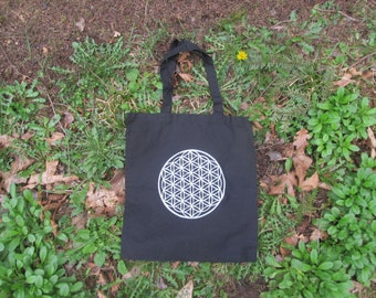Flower of Life Tote Bag - Sacred Geometry Symbol on Black Canvas Totes - grocery sack, bookbag, reusable, sturdy, psychedelic, burning man