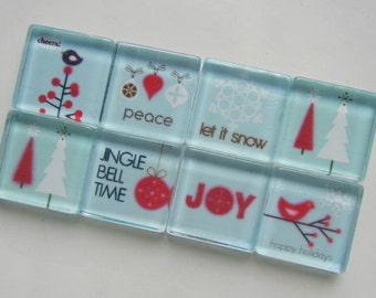 Holiday Decorations Refrigerator Magnets, Set of 8 Fridge Magnets with Storage Tin