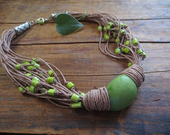 Tagua Nut Necklace, Linen Necklace,Lime Green Tagua, Lime Green Bone Beads, Linen Cord