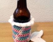 Mermaid Tail Drink Cozy, Crochet Cozy Green Pink Blue White Stripe, Drink Holder, Crochet Coffee Cozy