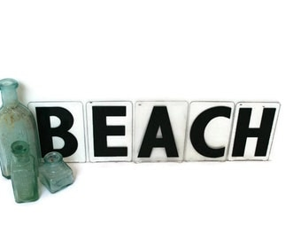 vintage marquee letters beach sign for cottage coastal or nautical decor beach letters beach wedding decor
