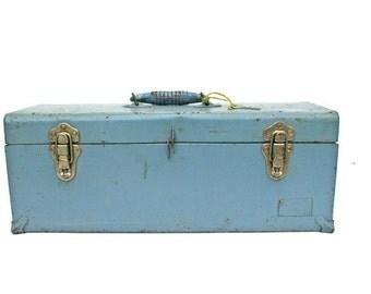 Vintage Union Toolbox / Blue Tool Box for Sturdy Unique Storage