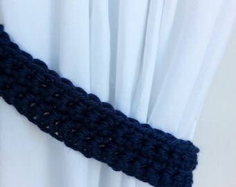 Curtain Tiebacks Set, Curtain Tie Backs, One Pair Solid Dark Navy Blue, Basic Drapery Drapes Holders, Crochet Knit..Ready to Ship & Custom