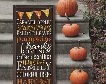 Autumn Fall Harvest Thanksgiving Sign - Typography With Bunting Word Art  on Wood framed