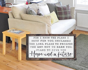 Jeremiah 29:11 | For I Know the Plans I Have For You Sign | Declares the Lord | Rustic Sign | Scripture Sign | Wooden Sign | Wall Decor