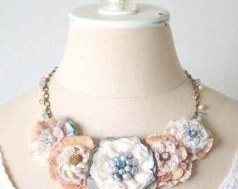 Floral Bib Necklace, Fabric Flower Necklace, Statement Necklace, Beach Wedding Jewelry, Light Blue and Peach, Bride and Bridesmaid Necklace
