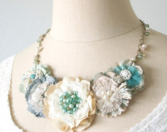Bride Necklace, Beach Wedding Jewelry, Floral Statement Necklace, Aqua Blue Bib Necklace, Fabric Flower Necklace, Bridesmaid Necklace