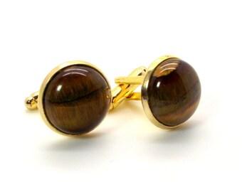 Chocolate Truffle Cufflinks Featuring Brown Tiger's Eye – Brown Cufflinks 16mm Round – Brown Tiger's Eye Cufflinks