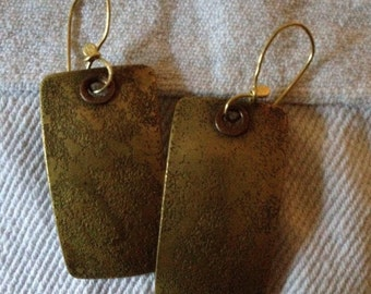 Bronze copper and 18kt hand wrought earrings