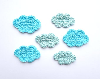 Blue clouds applique - crochet clouds decor - kids party decorations - clouds embellishments - clouds decorations - crafts project applique