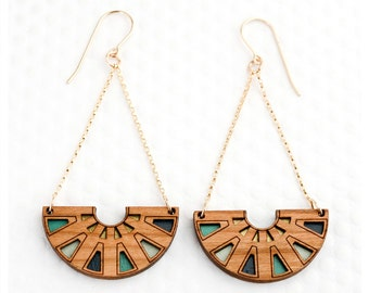 Azteca Chandelier Earring | Teal, Navy, Mint, Gold | Cherry Wood | Intricate Geometric Wooden Jewelry For Her