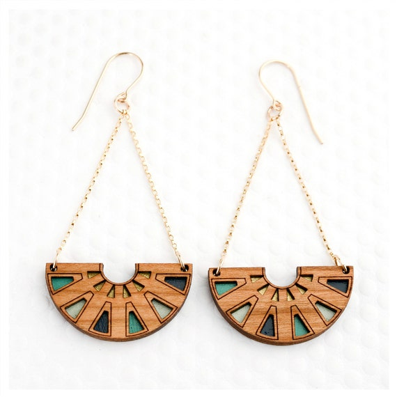 Items Similar To Azteca Chandelier Earring Teal Navy
