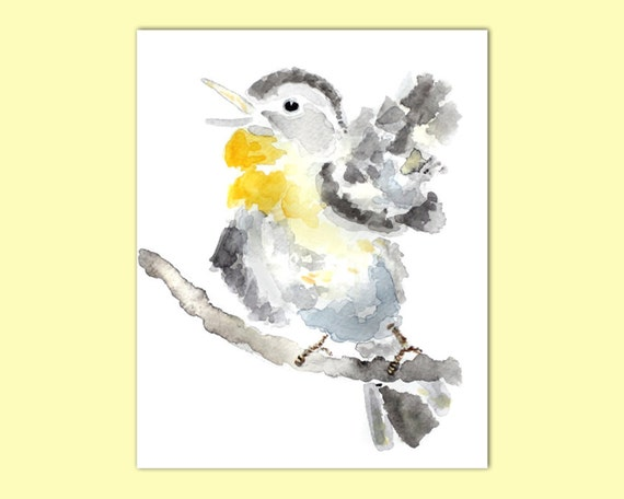 yellow grey nursery art, Bird Painting, bird watercolor print, singing bird art, gift for new mom, bird themed nursery decor