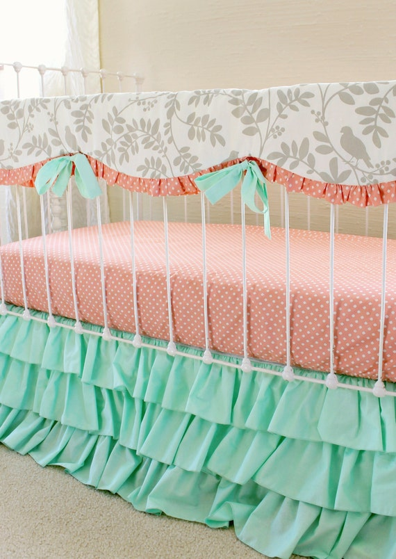 baby girl bedding in mint gray peach bumperless by lottiedababy. Black Bedroom Furniture Sets. Home Design Ideas