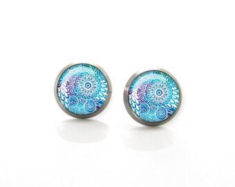 Shades of Blue abstract flowers Titanium Post Earrings   Hypoallergenic Earring Stud   Titanium Earring Stud   Sensitive jewelry post studs