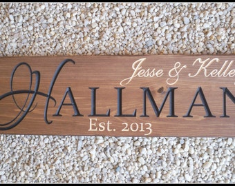 Carved wood signs, Carved Wood, Engraved Wood Signs, Last Name Sign, Family Name Sign, Personalized Sign, Established Sign, Custom Signs