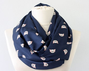 Cat scarf cat infinity scarf animal print scarf navy blue scarf cute scarves for women whimsical gift for her blue loop scarf eternity scarf