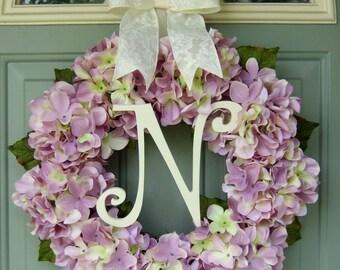 Summer Wreath - Spring Hydrangea Wreath - Summer Monogram Hydrangea Door Wreath