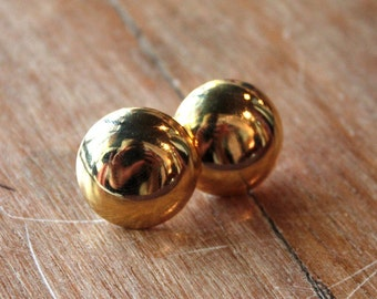 Vintage 1970s Circle Earrings // 70s 80s Gold Mod Earrings  // Shiny Stud