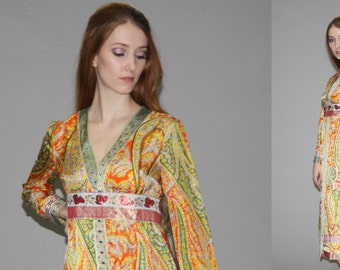 Vintage 1960s Designer Eloise Curtis Ethnic Metallic Graphic Floral Dress   -  60s Hippie Festival Dress  -  Metallic Dresses  - WD0573